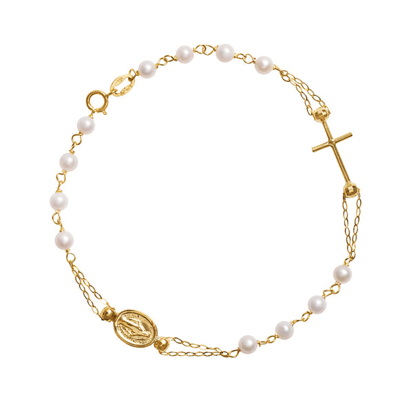 18 Kt Gold rosary bracelet with white freshwater pearls