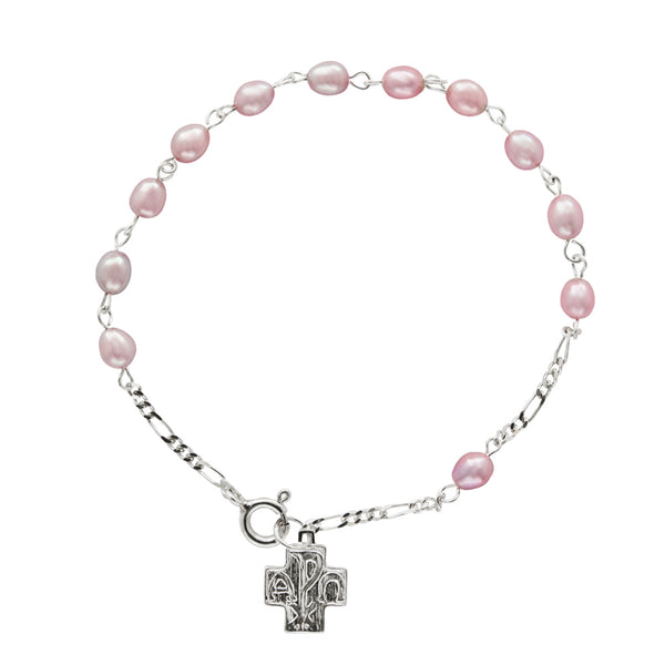 PEARL ROSARY BRACELET - SILVER