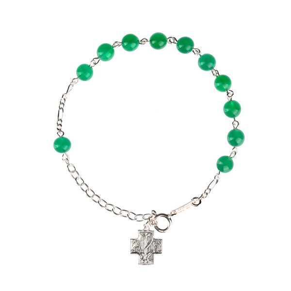 Green agate silver rosary bracelet