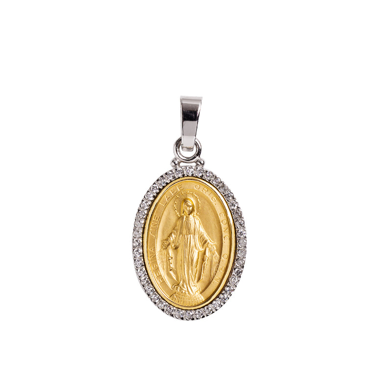 Gold miraculous medal with zirconia