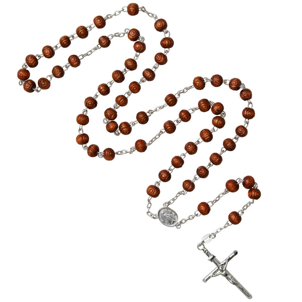 wood rosary silver