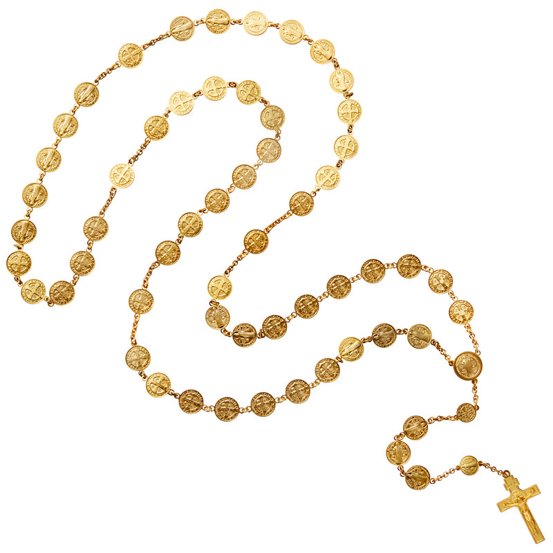 st benedict vermeil silver rosary