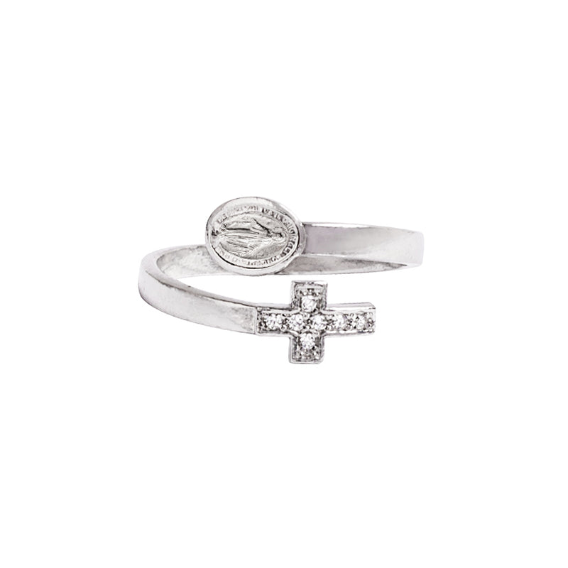 MIRACULOUS AND CROSS - RING - SILVER