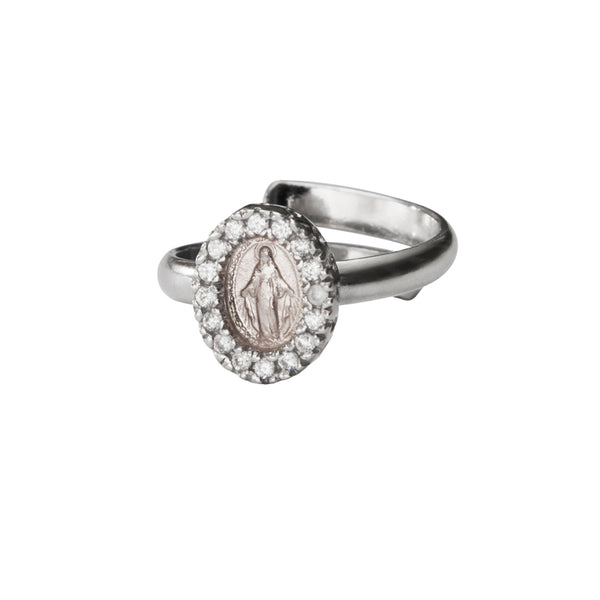 Miraculous medal ring with zirconia