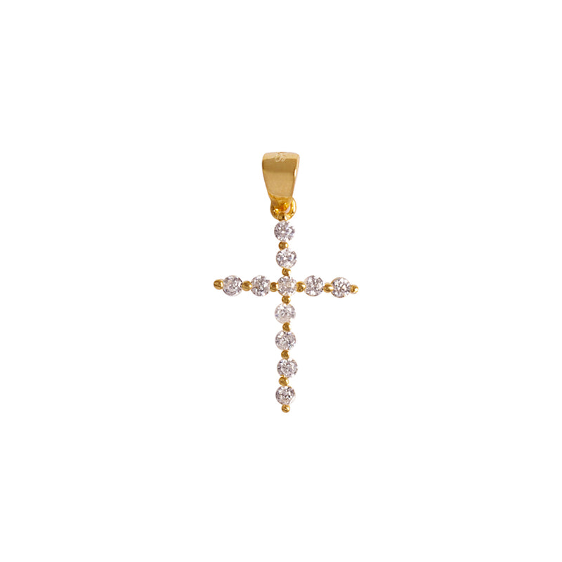 Vermail silver cross pendant with zirconia