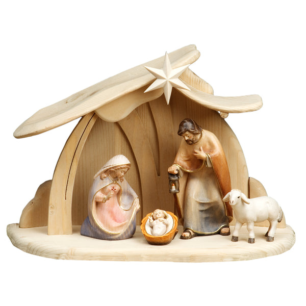 Nativity scene and wooden hut