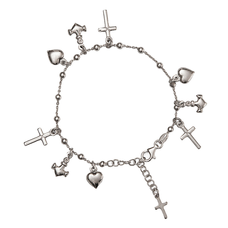 Faith hope and charity sterling silver bracelet