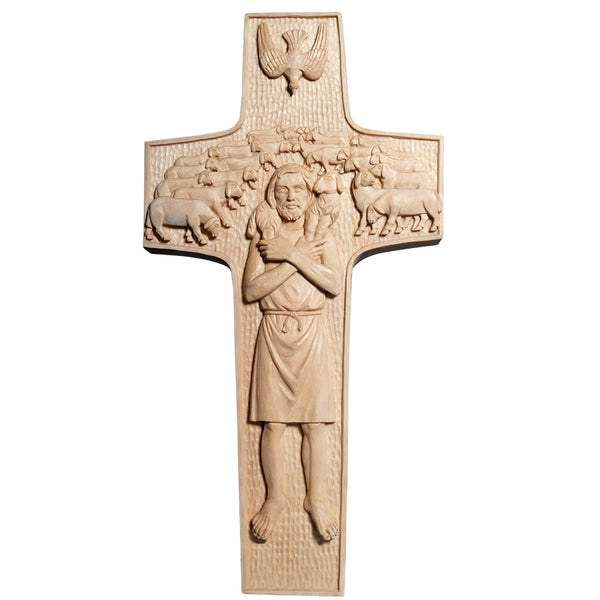POPE FRANCIS - GOOD SHEPHERD WALL CROSS - WOOD