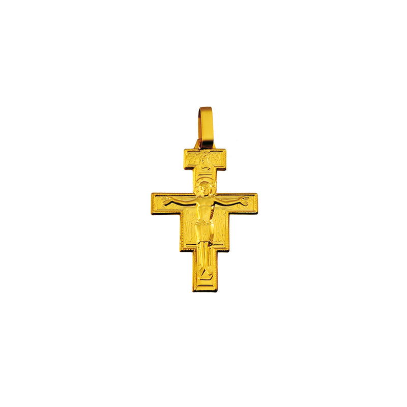 18k yellow gold st damian crucifix pendant