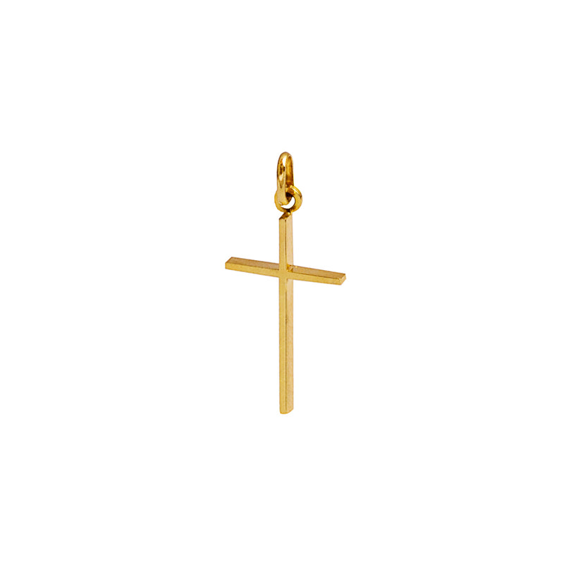 cross pendant golden sterling silver