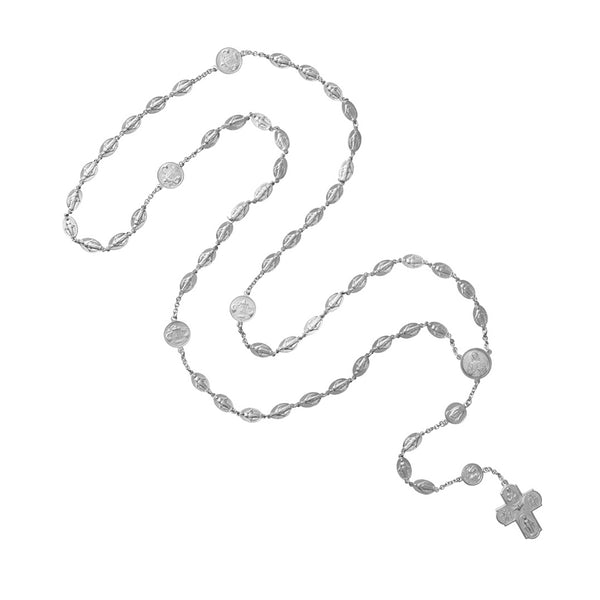 Miraculous and Scapular 18k white gold rosary