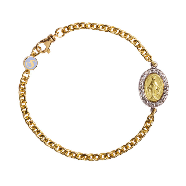 Yellow gold bracelet with miraculous medal