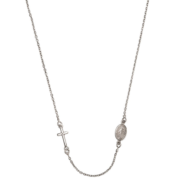 Miraculous and cross silver necklace