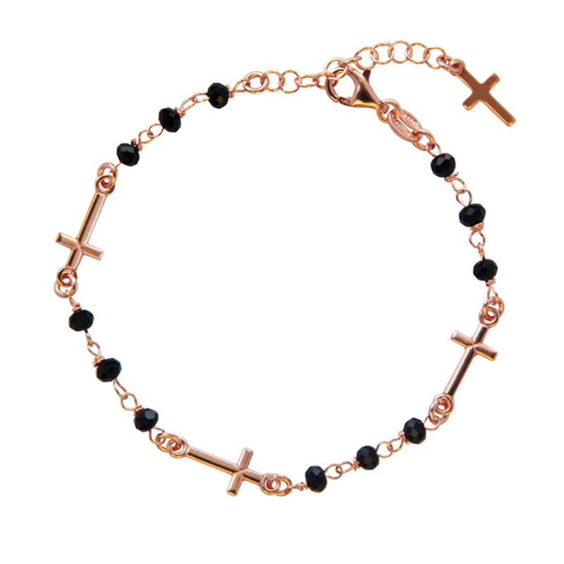 Crystal rosary bracelet with crosses