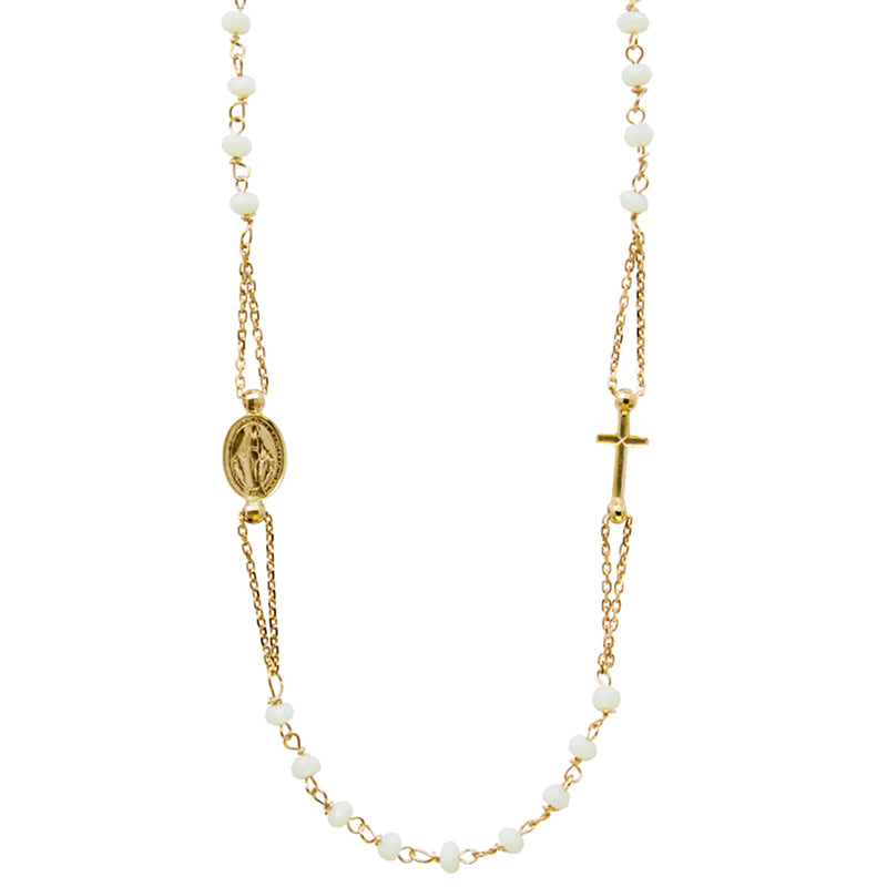 Crystal miraculous and cross necklace