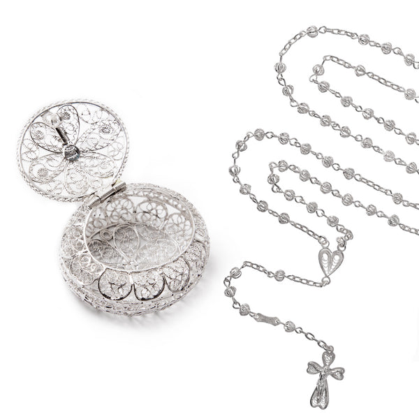 FILIGREE ROSARY BOX - SILVER