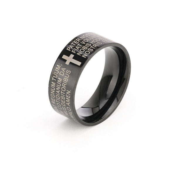 Lord's prayer steel ring