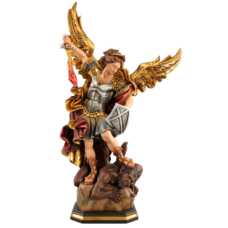 Saint michael wood statue