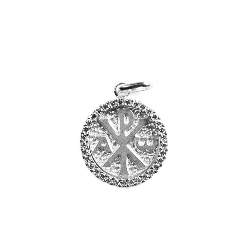 18 Kt white Gold Peace pendant with white Zirconia
