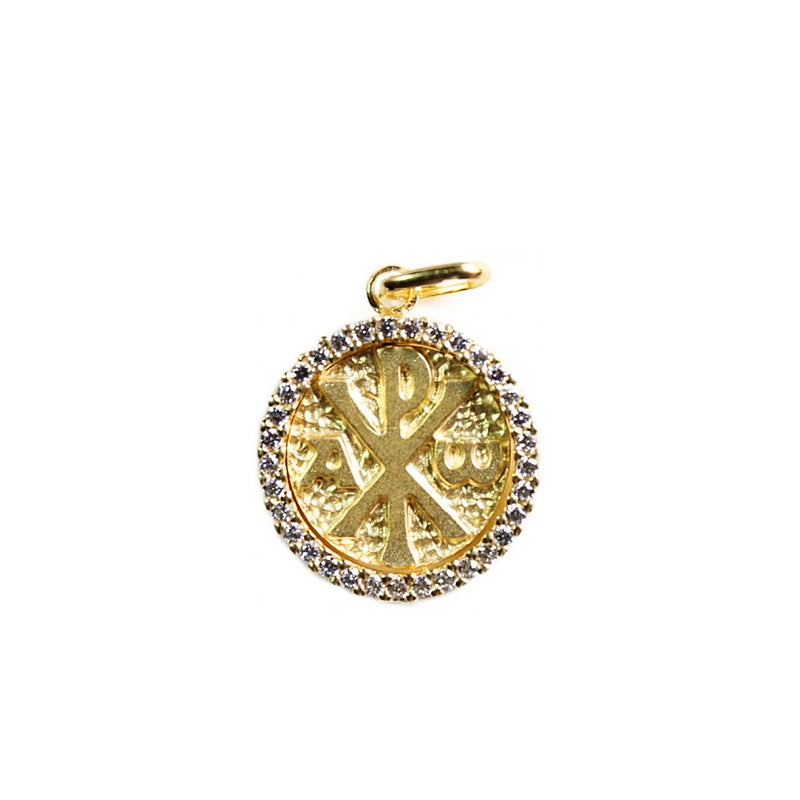 18 Kt Gold Peace pendant with white Zirconia