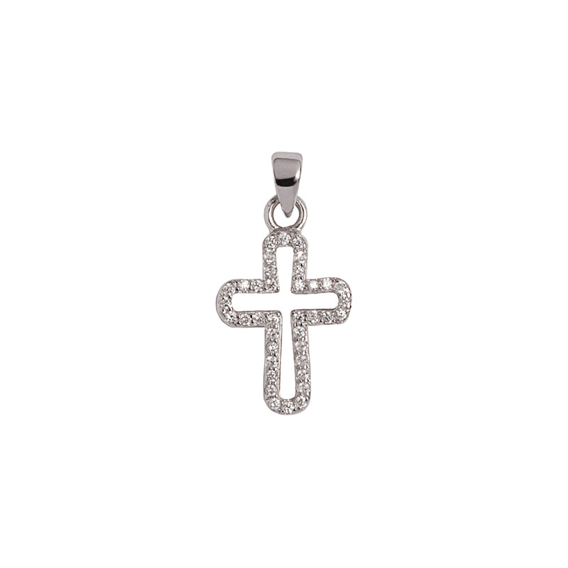 Sterling silver cross pendant with zirconia