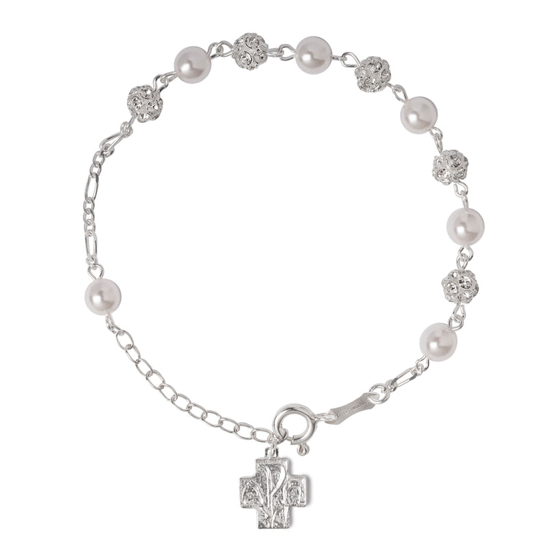 Pearl and Strassball rosary silver