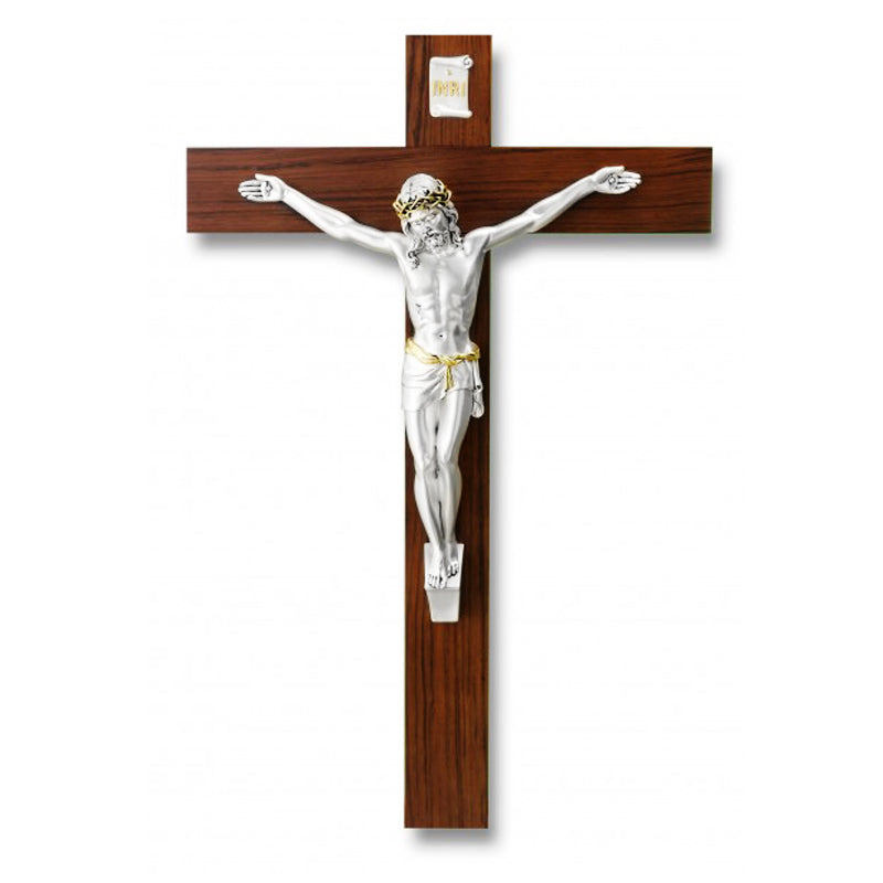 wood and silver wall crucifix