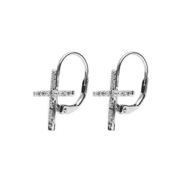 Earrings with zirconia cross