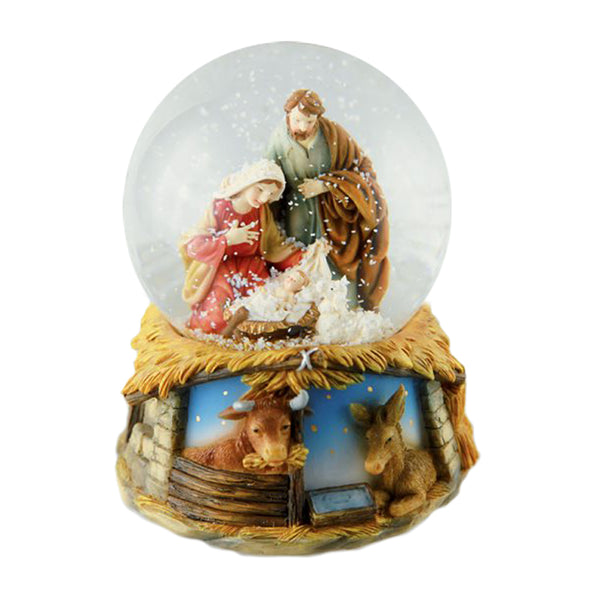 Musical box snow globe with Nativity