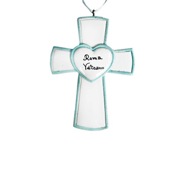 Light blue cross ornament in resin