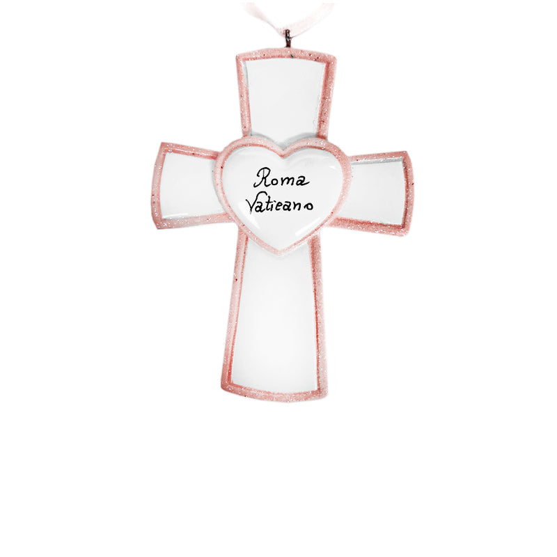 Pink cross ornament in resin