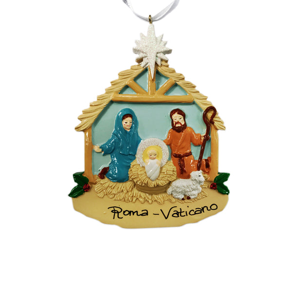 Christmas tree resin ornament with Nativity scene