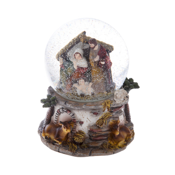 musical snow globe with Nativity scene