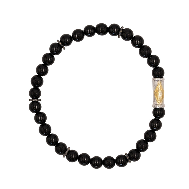 OUR LADY OF GRACE BRACELET - ONYX AND SILVER