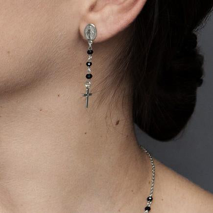 MIRACULOUS AND CROSSES - CRYSTAL EARRINGS - SILVER