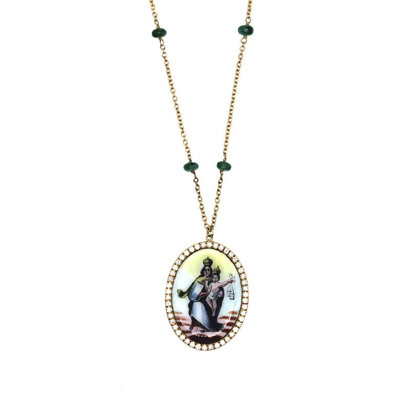 OUR LADY OF MOUNT CARMEL NECKLACE - GOLD AND DIAMONDS