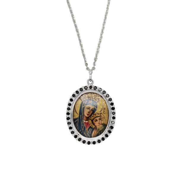 OUR LADY OF PERPETUAL HELP NECKLACE - GOLD AND DIAMONDS