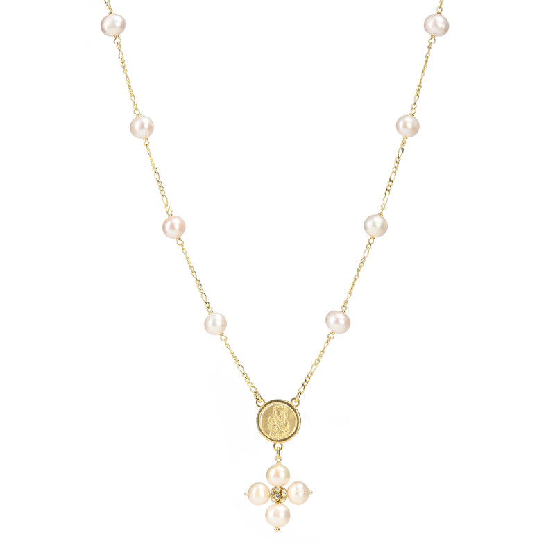 PEARL NECKLACE - MARY MEDAL - VERMEIL SILVER