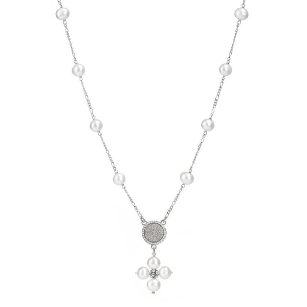 PEARL NECKLACE - MARY MEDAL - SILVER