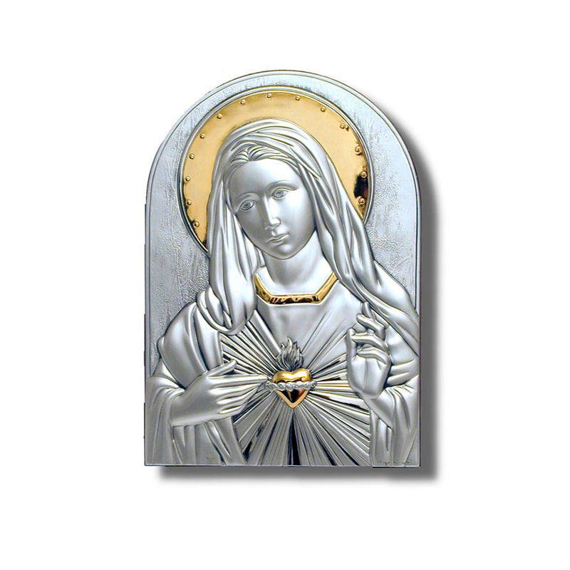 Sacred heart of Mary picture silver