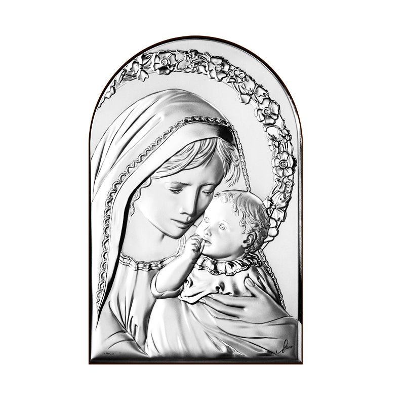 Madonna with child picture silver
