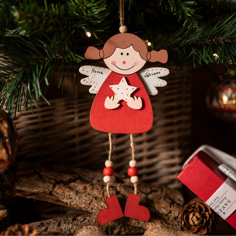 RED ANGEL CHRISTMAS TREE ORNAMENT - PAINTED WOOD