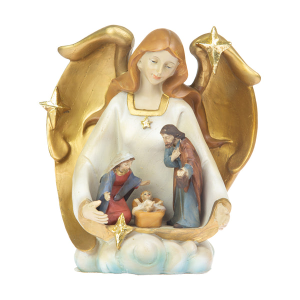 resin nativity set with angel
