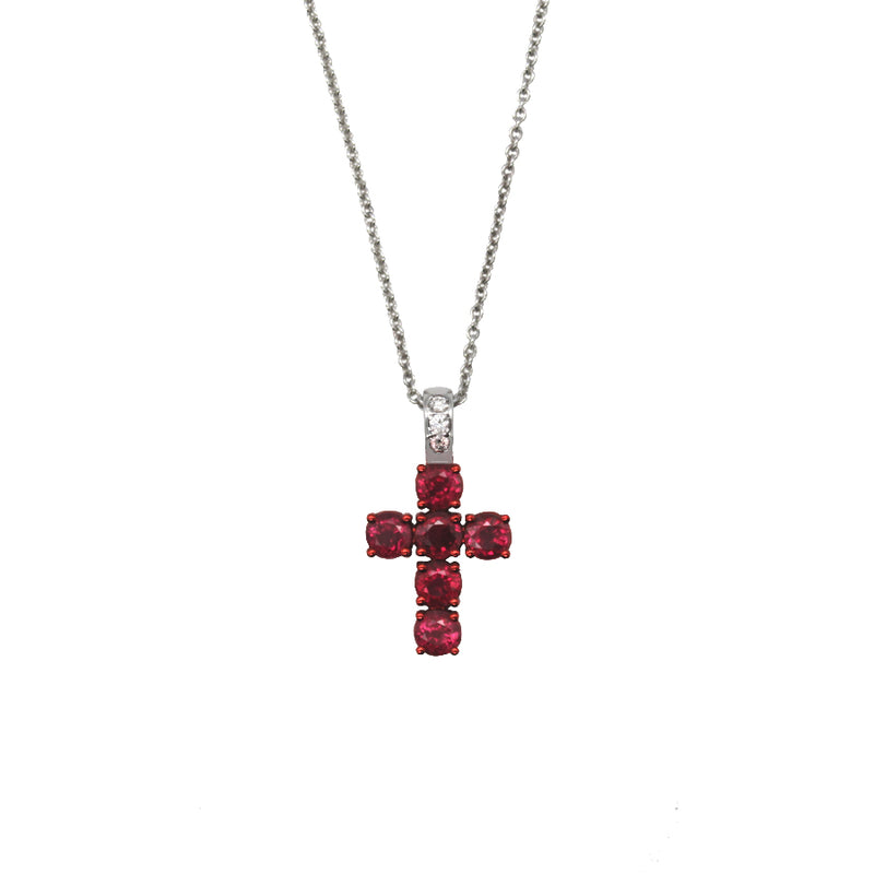 CHAIN AND CROSS WITH RUBIES AND DIAMONDS - GOLD