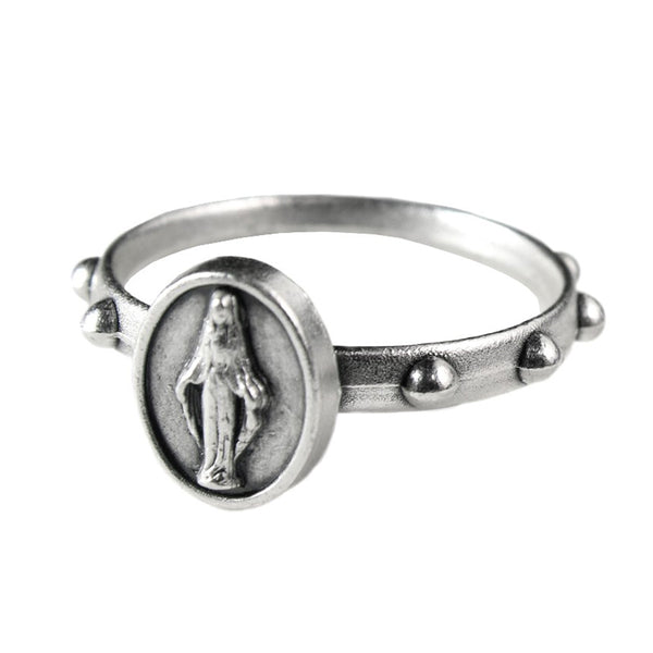 Metal rosary ring with Miraculous Madonna medal