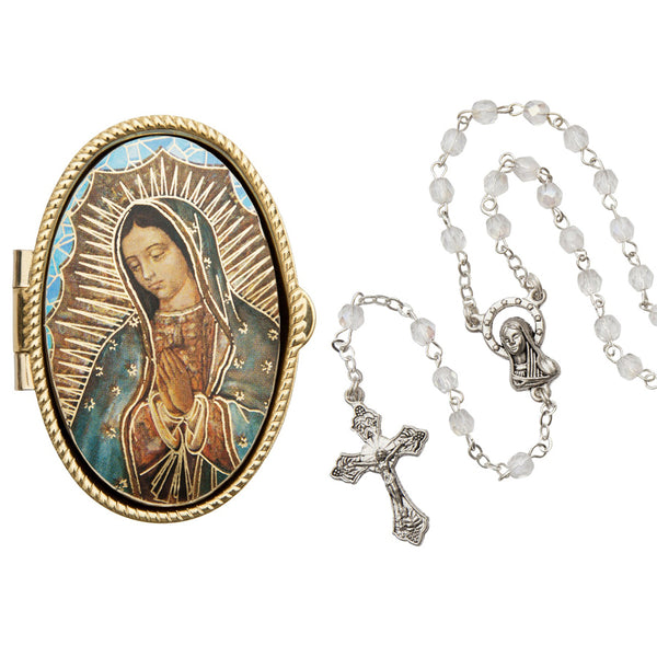 OUR LADY OF GUADALUPE - ROSARY BOX - METAL