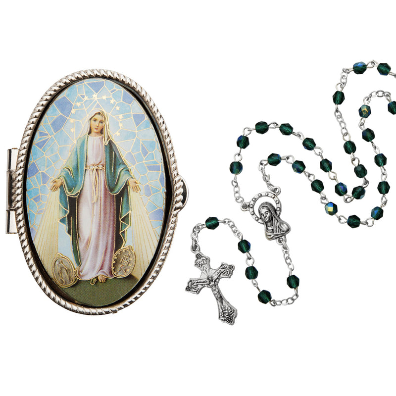 Miraculous medal rosary box