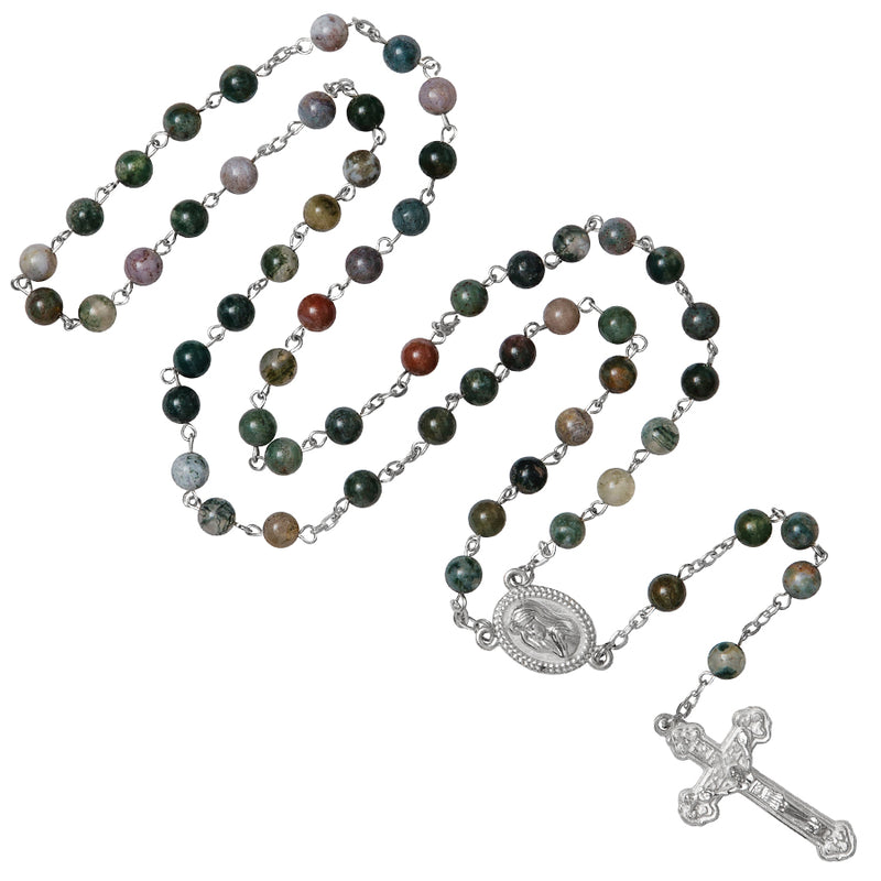 Green stone metal  rosary