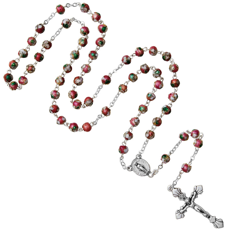 Pink cloisonné rosary