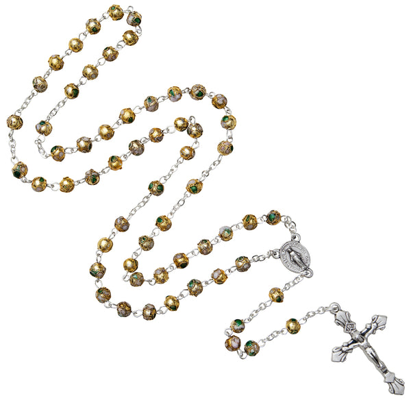 Yellow cloisonné rosary